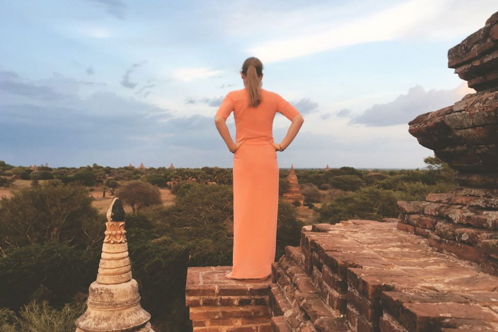 View from upper floor pagoda in Bagan Myanmar