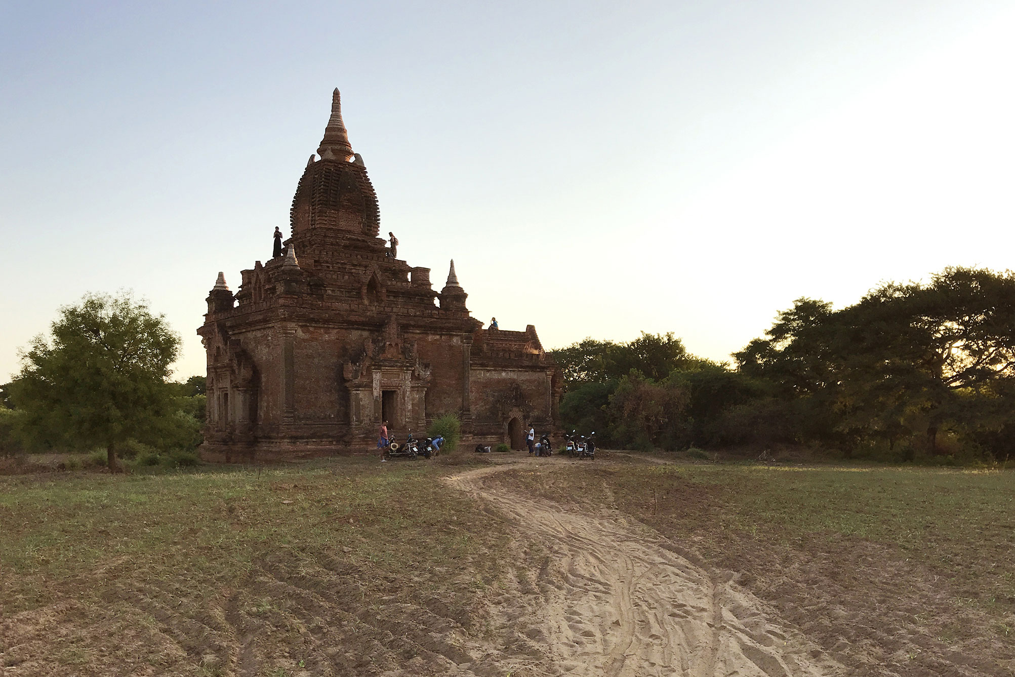 Sunset and sunrise pagoda in Bagan Myanmar