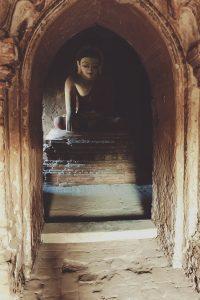Buddha statue inside pagoda 1311 in Bagan Myanmar