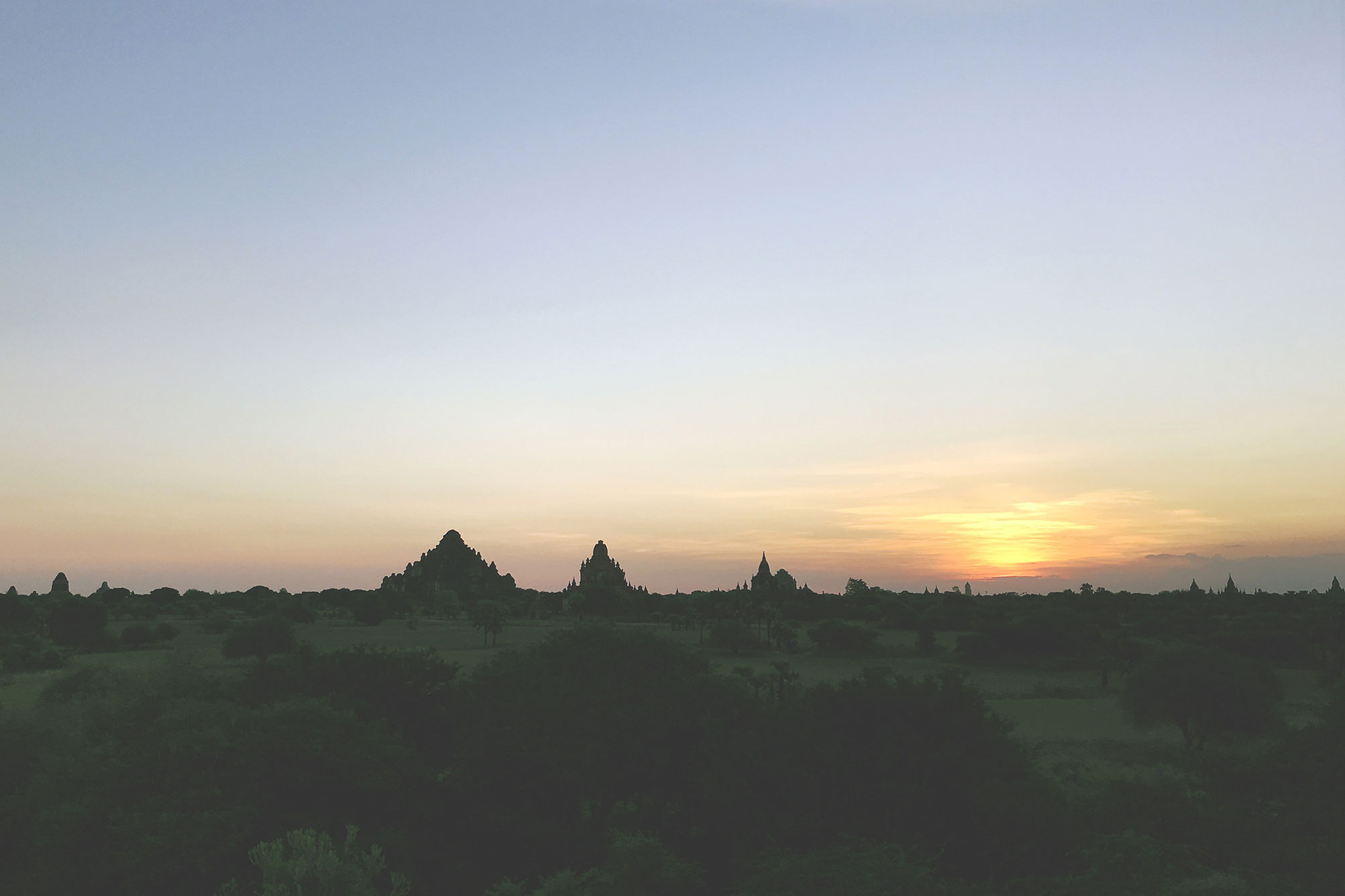 Sunrise seen from pagoda in Bagan Myanmar