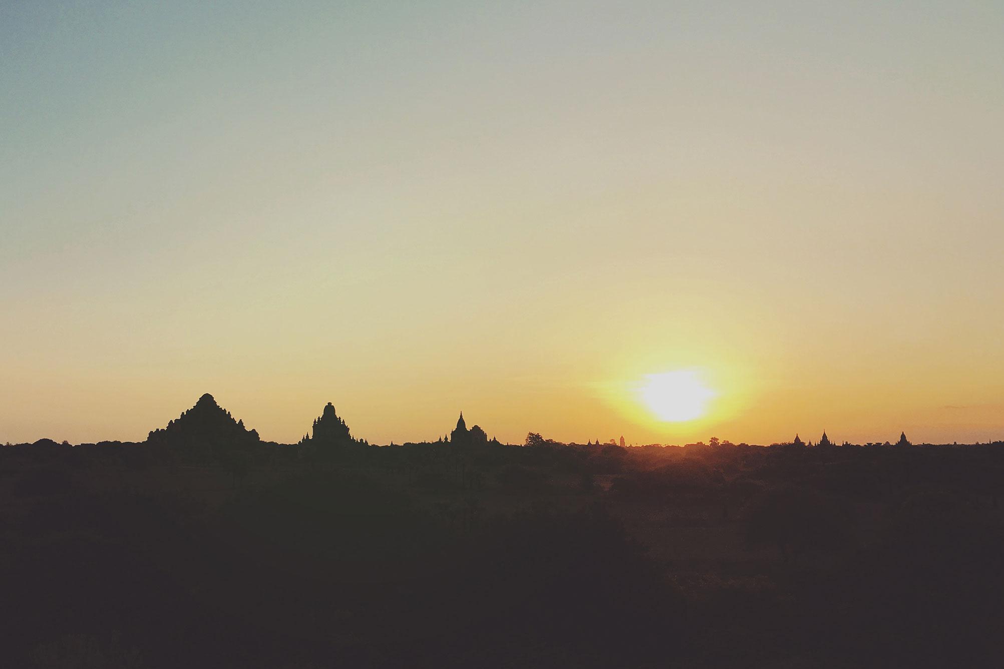 Sunrise seen from pagoda in Bagan Myanmar