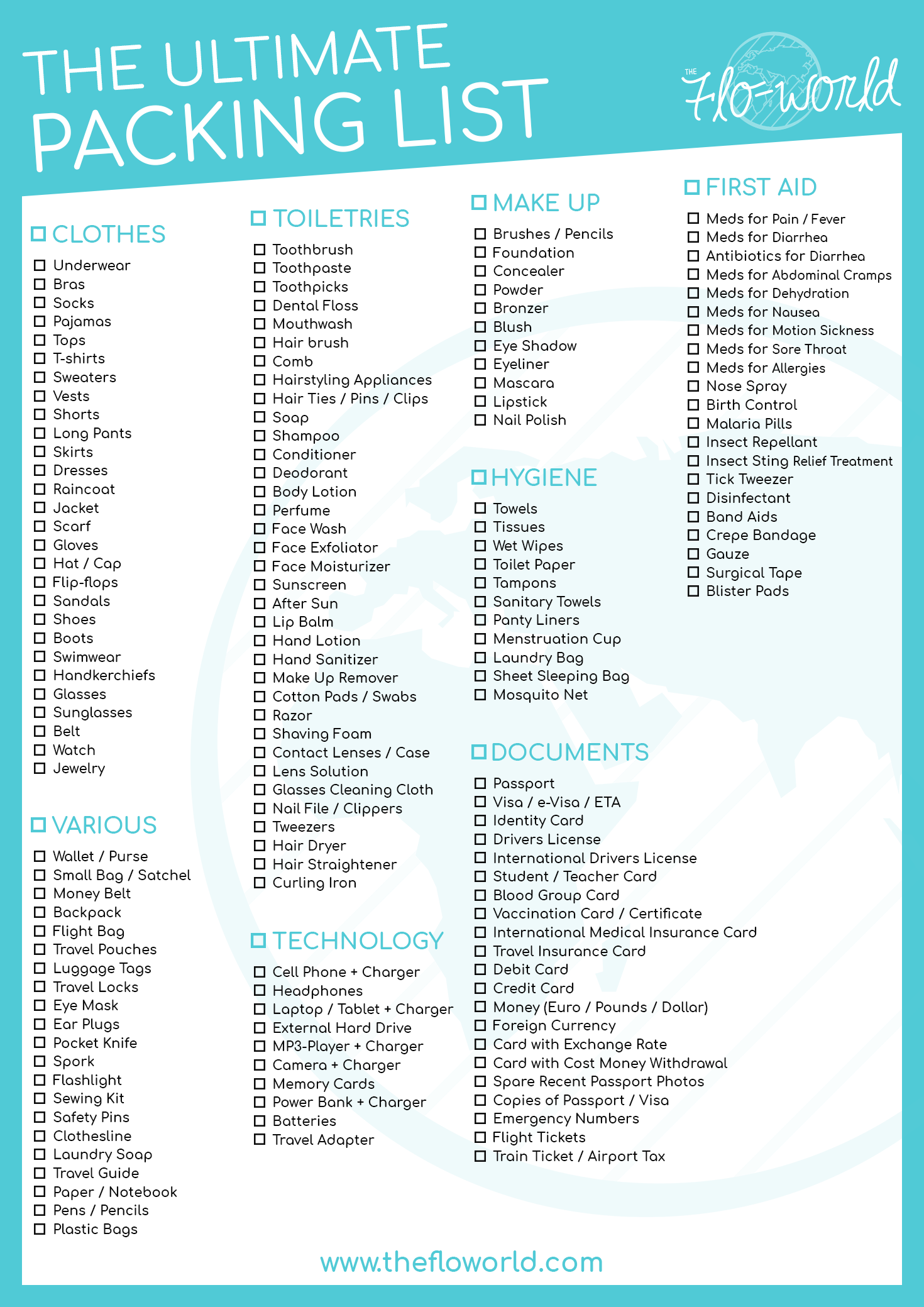 ultimate travel packing list  what to pack when traveling  u2013 the flo